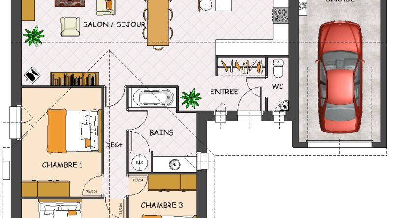 plan de maison plain pied 3 chambres avec garage