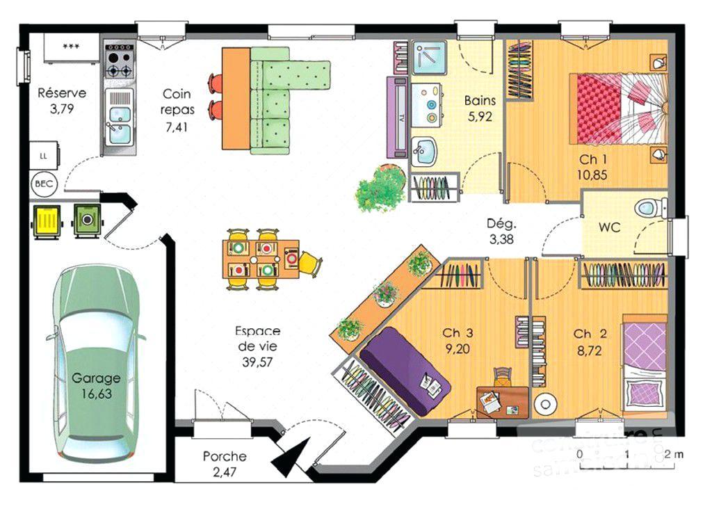 maison plain pied 3 chambres avec garage