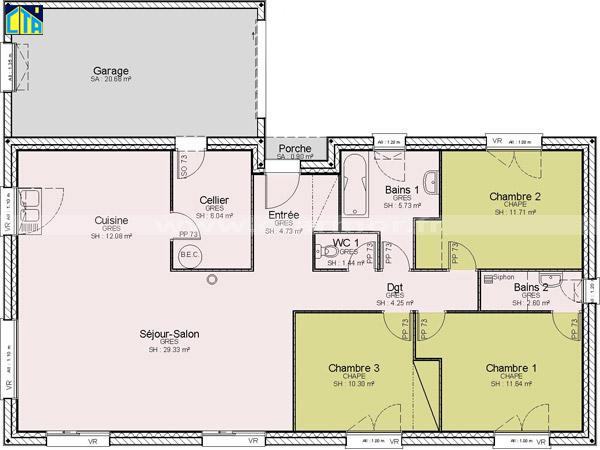 Maison plain pied 3 chambres bretagne - Plans maisons plain pied 3 chambres ...