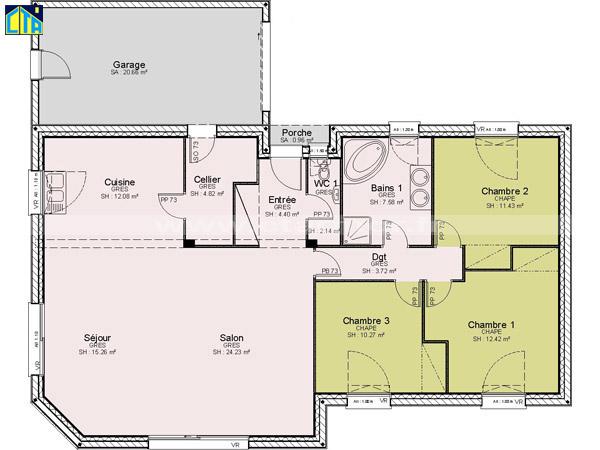 Maison plain pied 3 chambres bretagne for Plan maison 3 chambres et un bureau