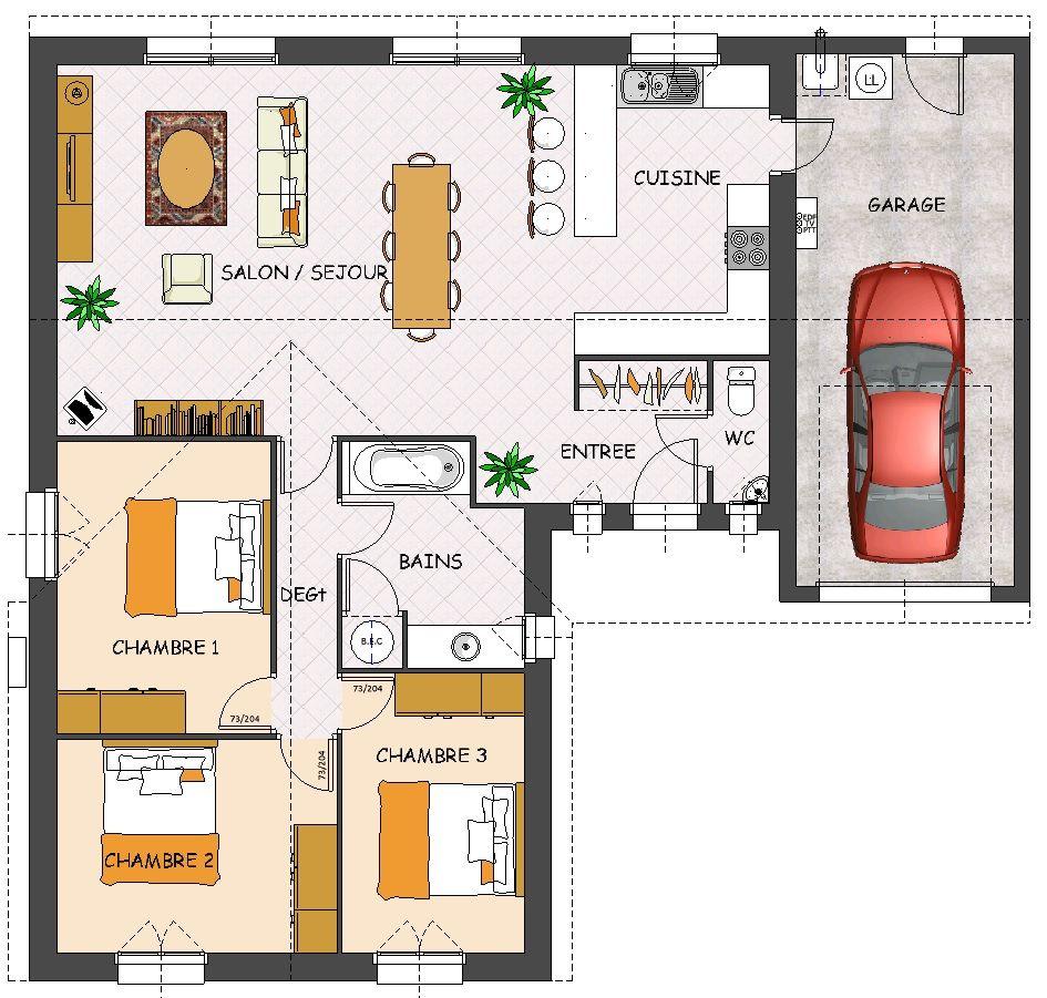 plan de maison à 3 chambres