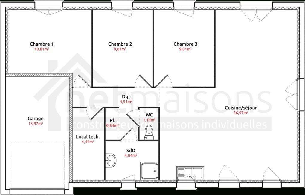 maison plain pied 3 chambres garage