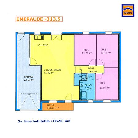 maison plain pied 3 chambres plan