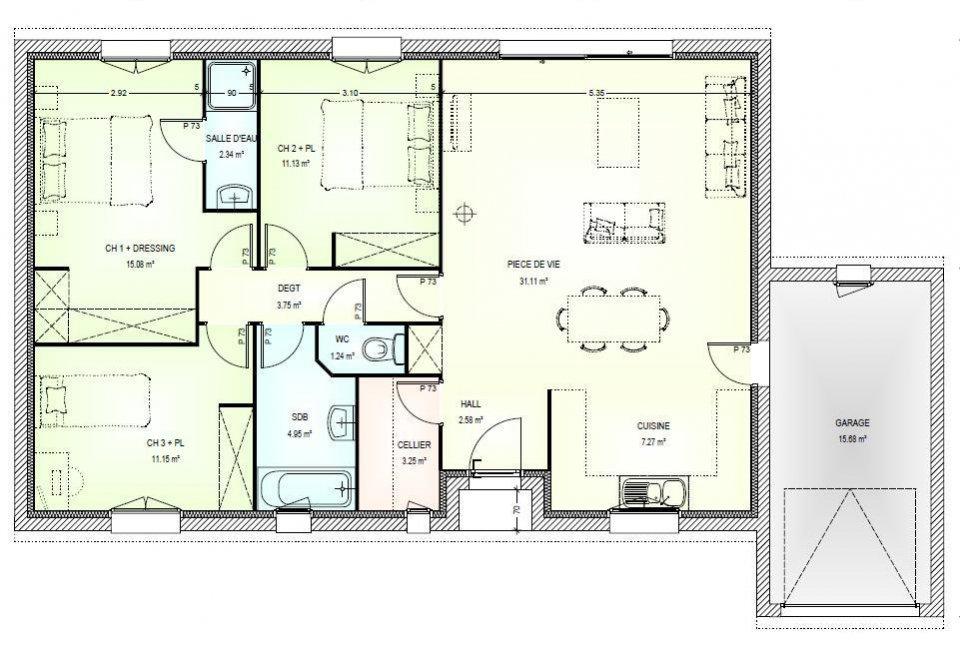 Maison plain pied 3 chambres plan - Plans maisons plain pied 3 chambres ...