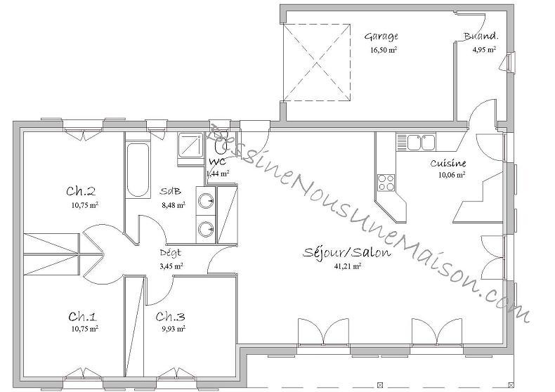Maison plain pied 3 chambres sans garage - Plan maison plain pied 120m2 ...