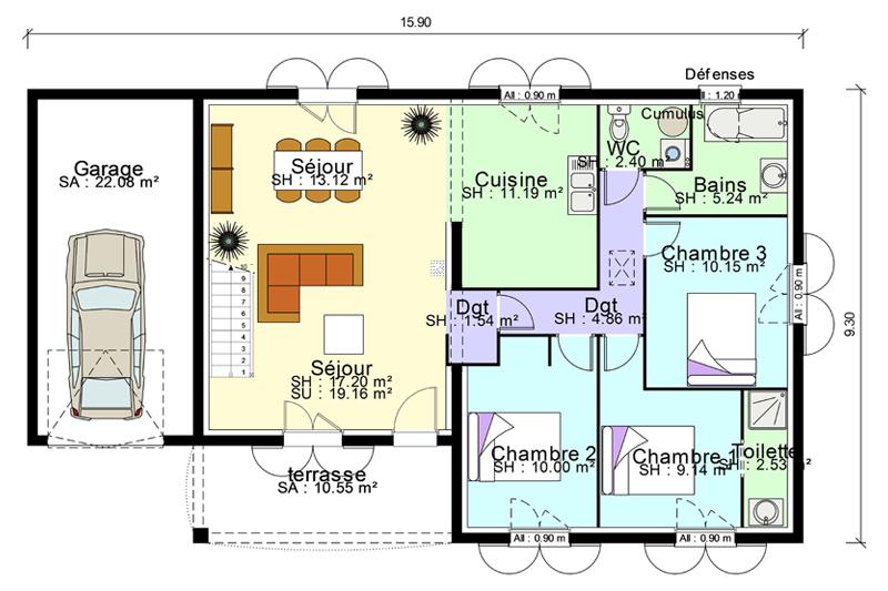 maison plain pied 3 chambres suite parentale