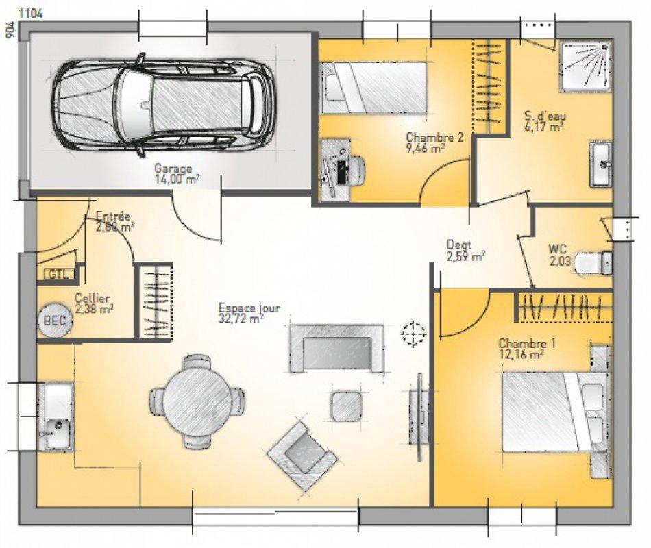 maison plain pied 3 pieces
