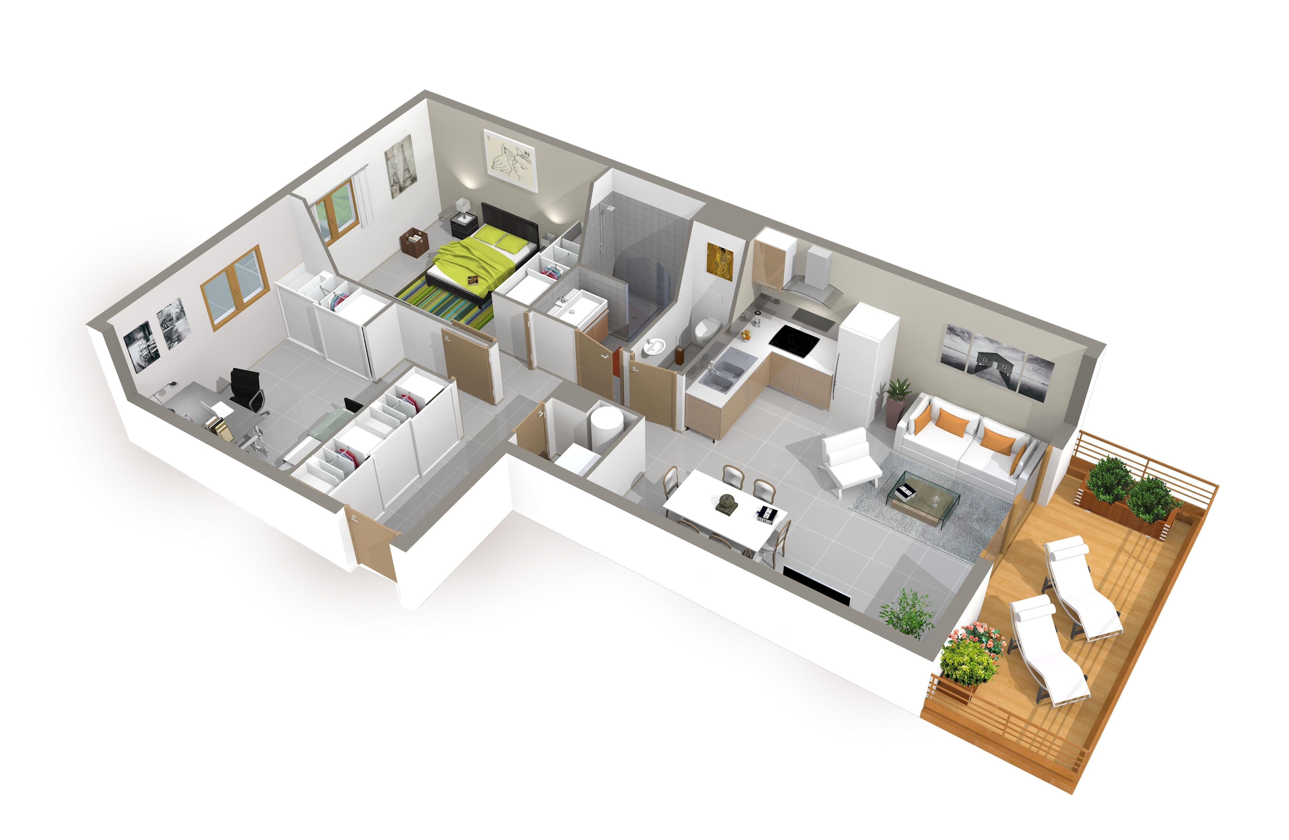 plan de maison 3d plain pied