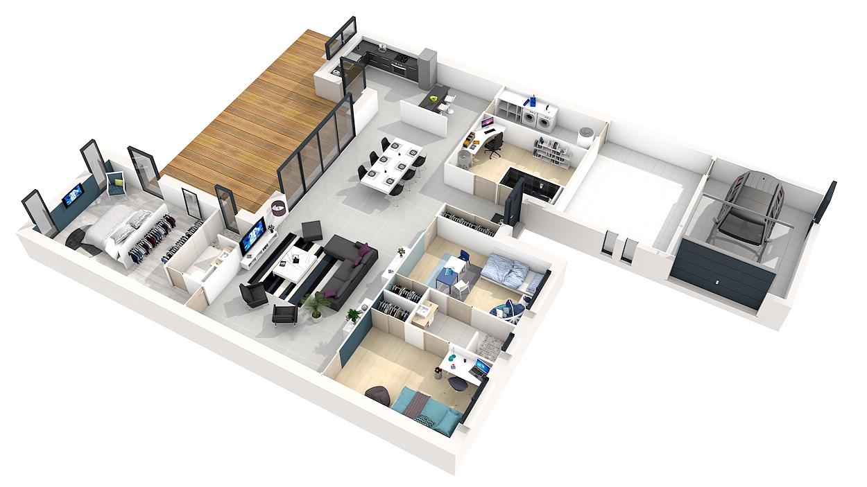 Plan de maison plain pied 3 chambres avec garage 3d