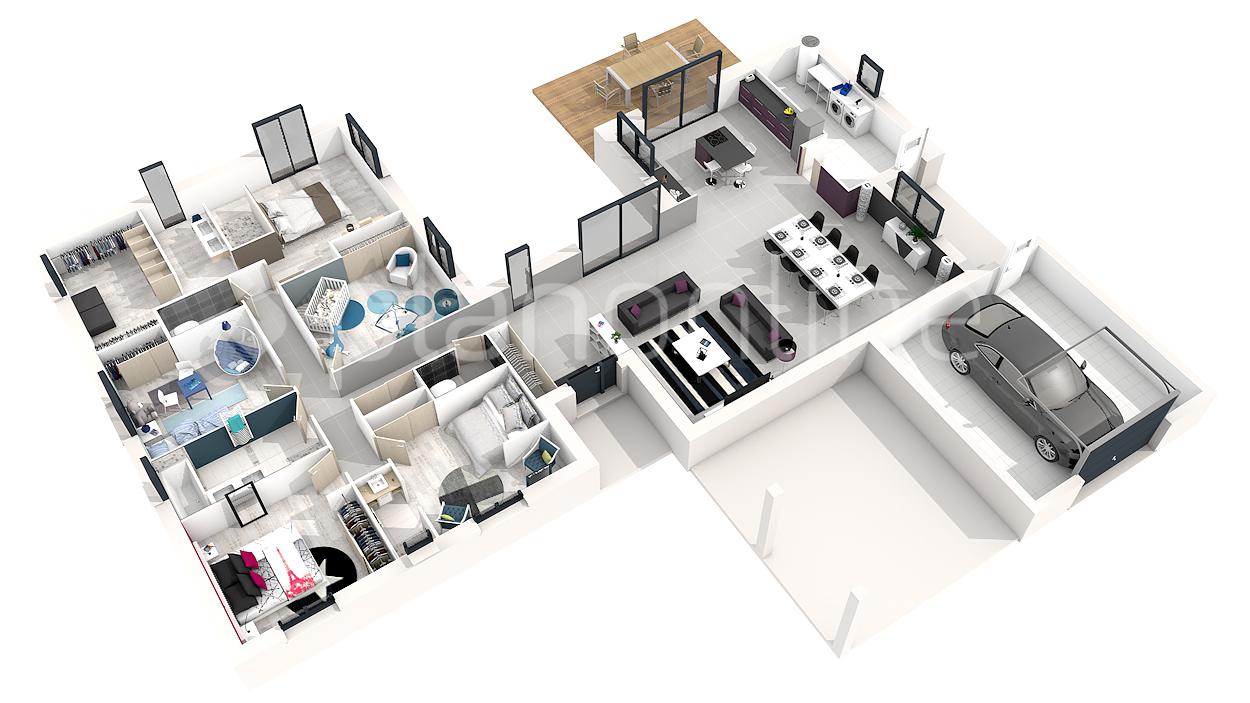 maison plain pied 4 chambres 3d
