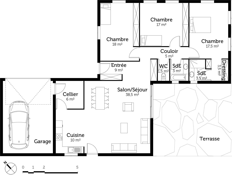 Maison plain pied 4 chambres avec garage - Plan de maison en l avec 4 chambres ...