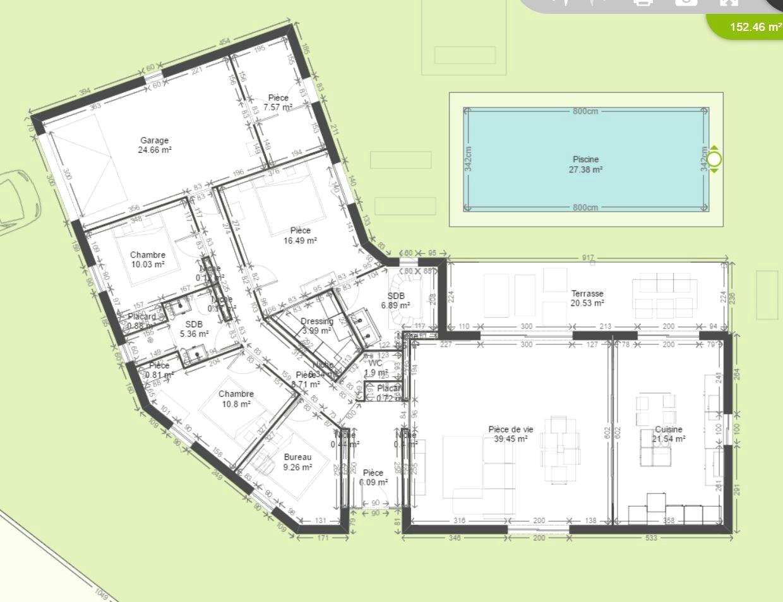 Plan de maison plain pied 4 chambres avec garage