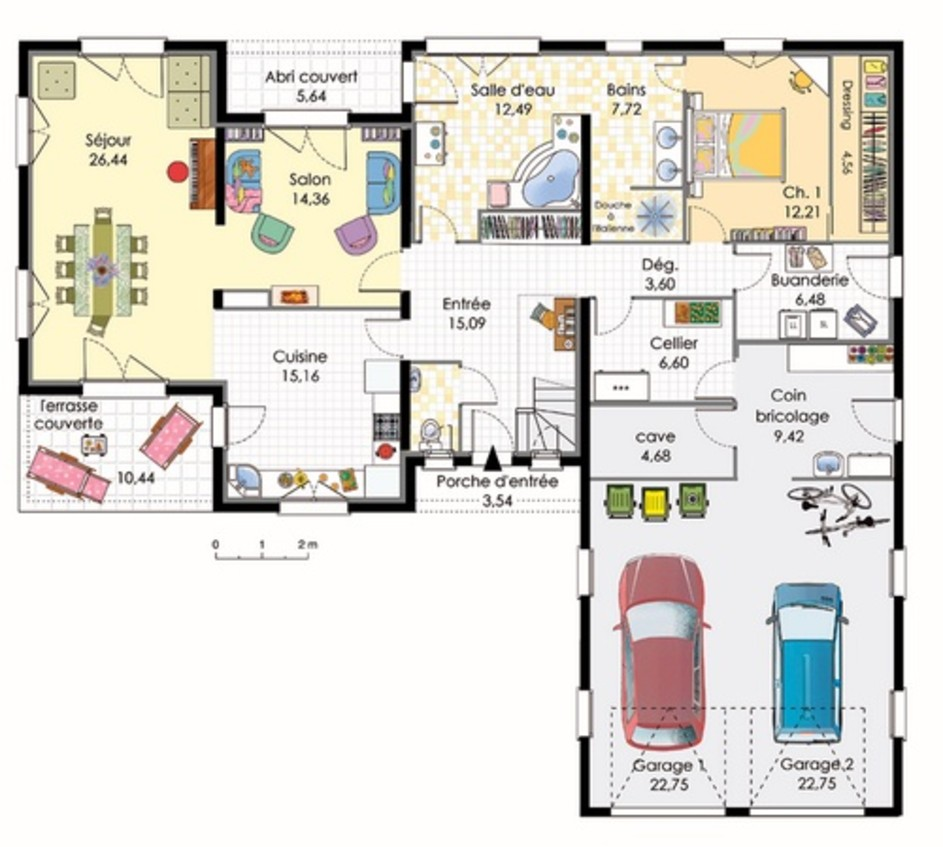 maison plain pied 4 chambres double garage