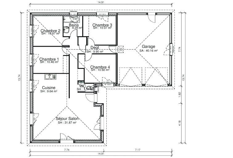 Maison plain pied 4 chambres double garage - Modele maison plain pied 4 chambres ...