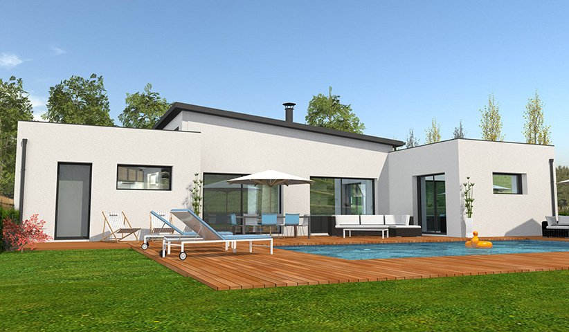 maison plain pied 4 chambres moderne. Black Bedroom Furniture Sets. Home Design Ideas