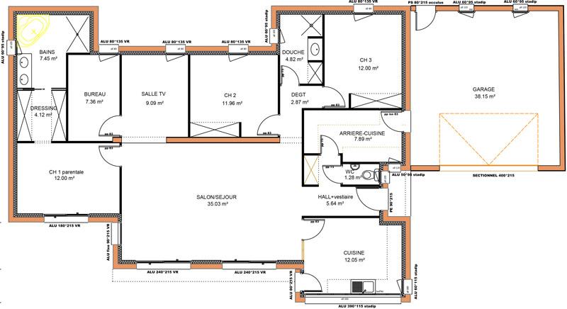Maison plain pied 4 chambres moderne - Modele maison plain pied 4 chambres ...