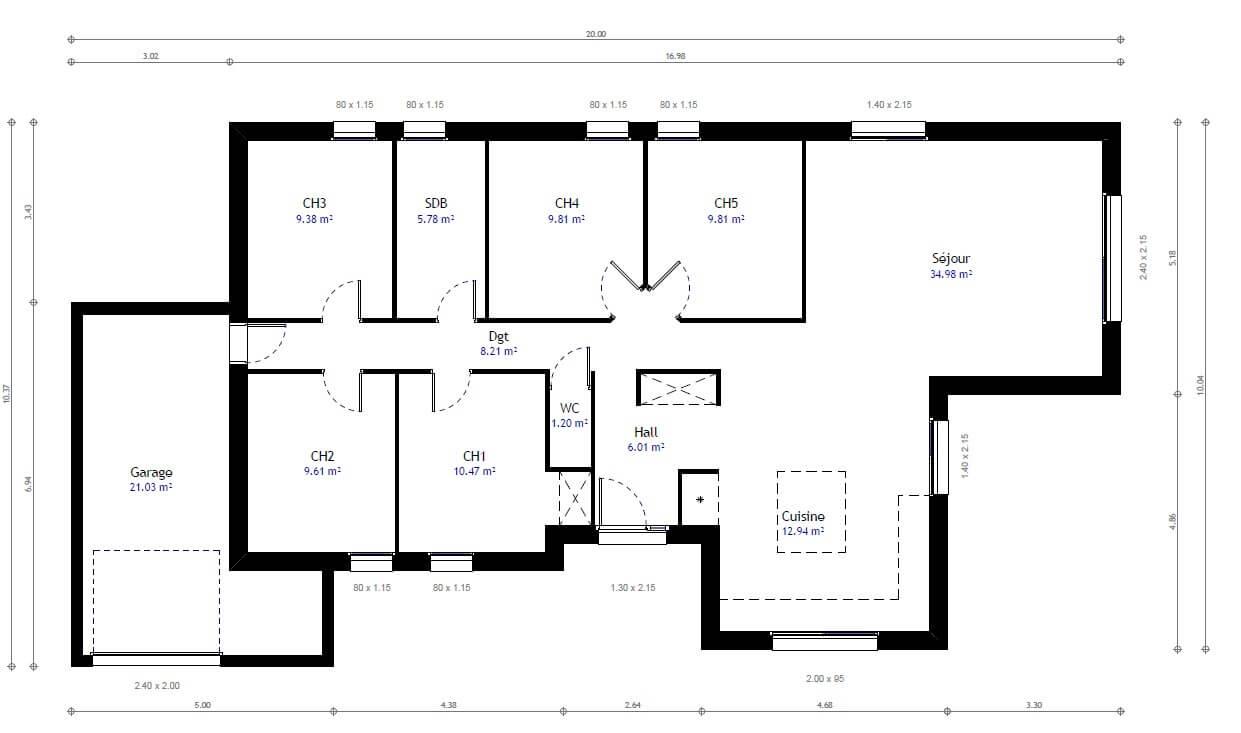 plan de maison pour 5 personnes