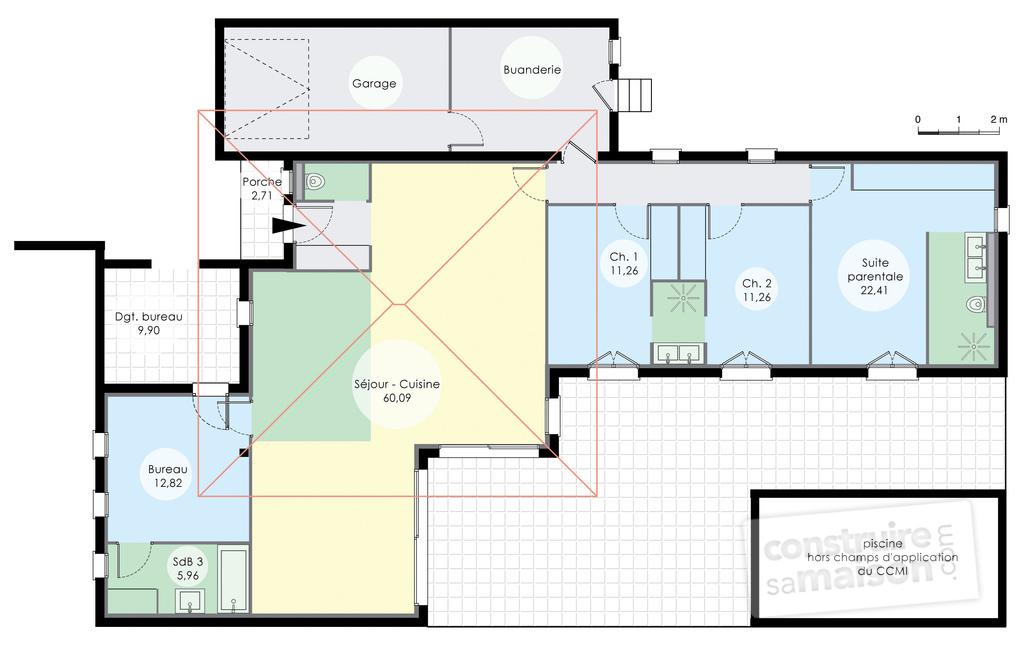 maison plain pied 6 chambres