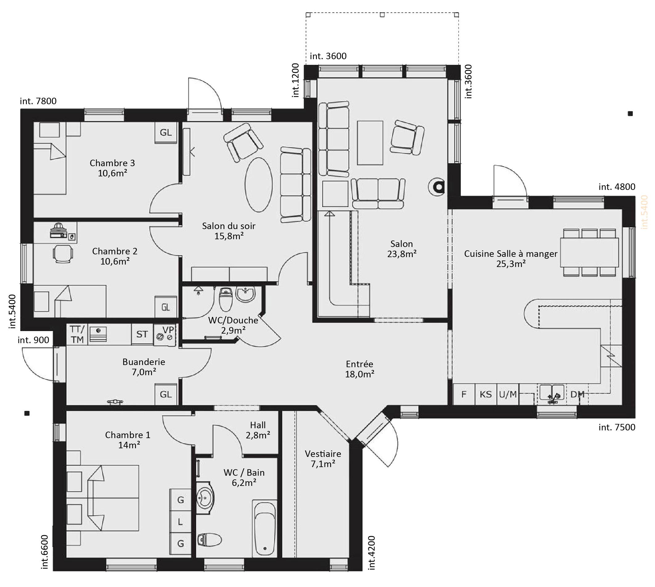 plan de maison 6 chambres gratuit