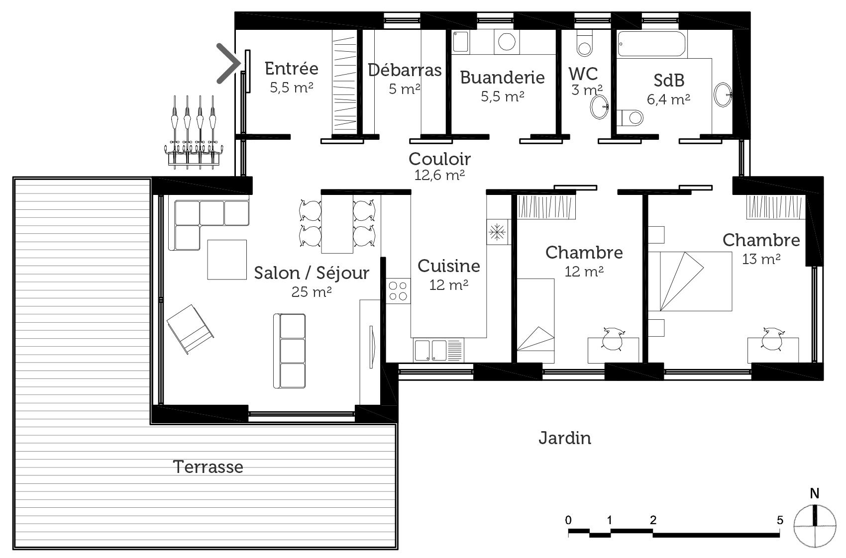 plan de maison 6 chambres plain pied