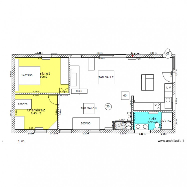 plan de maison 70m2