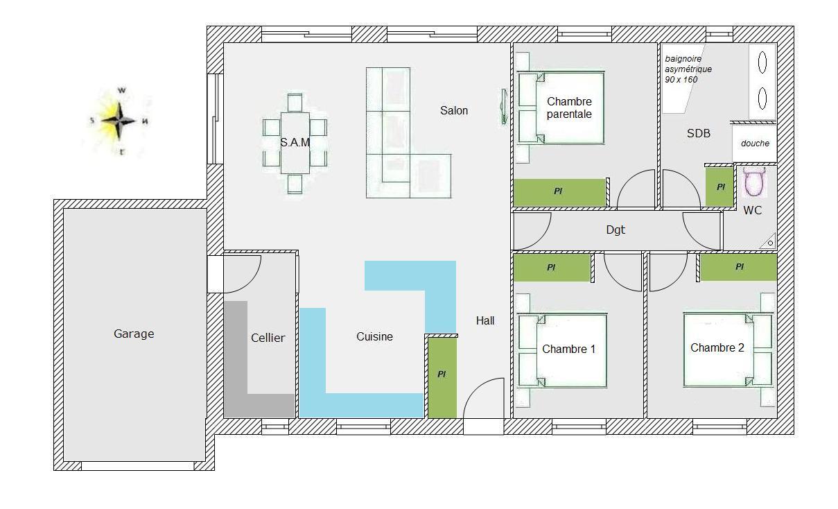plan de maison de 70m2