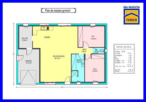 maison plain pied 80 m2