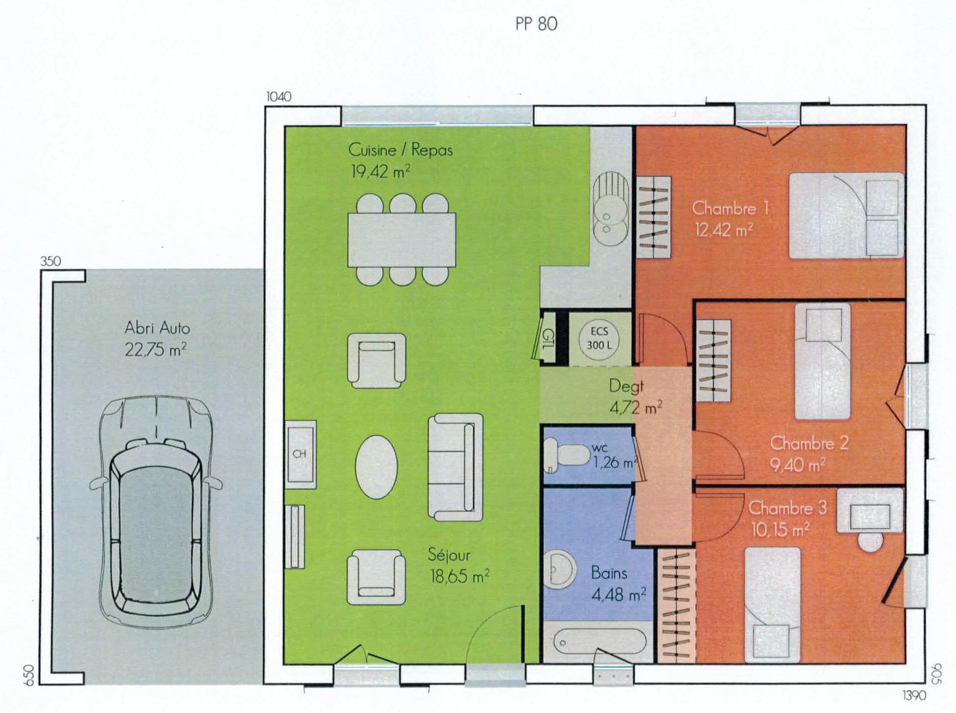Maison plain pied 80 m - Petite maison de plain pied ...