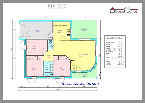 Maison plain pied 80m2 3 chambres for Plan de maison de 90m2