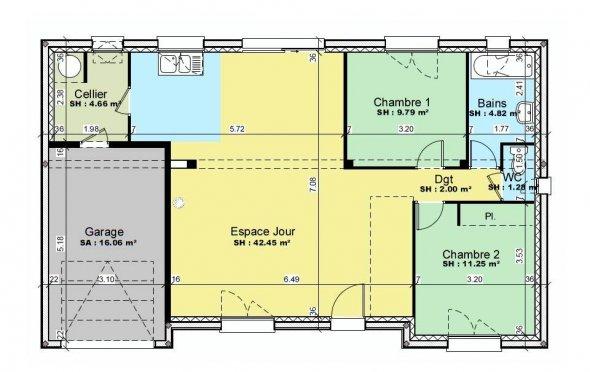 Maison plain pied 88m2 - Plan maison plain pied 80m2 ...