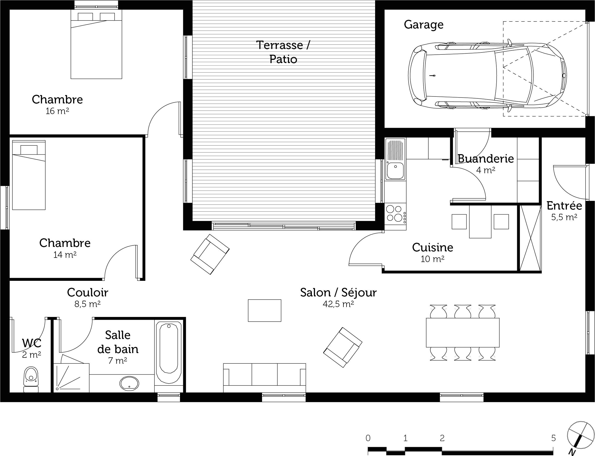 Maison plain pied 8 - Plan maison plain pied avec piscine ...
