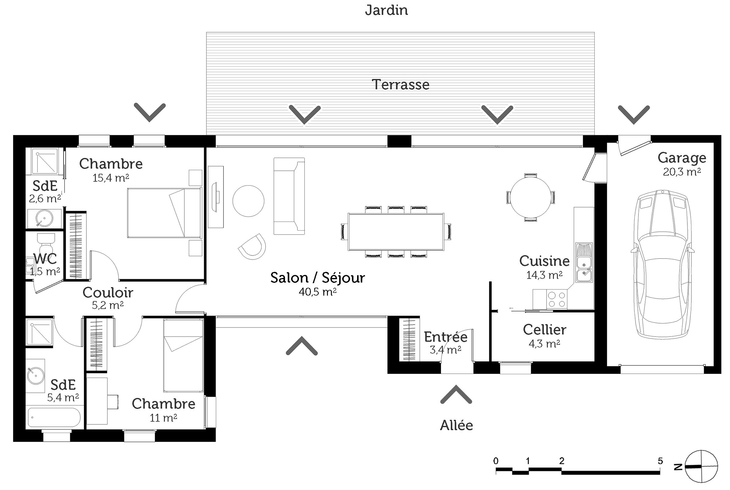 maison plain pied avec 2 garages