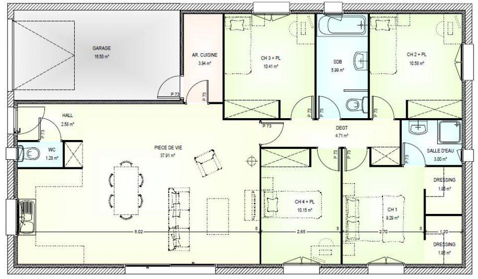 plan de maison basse 5 pièces