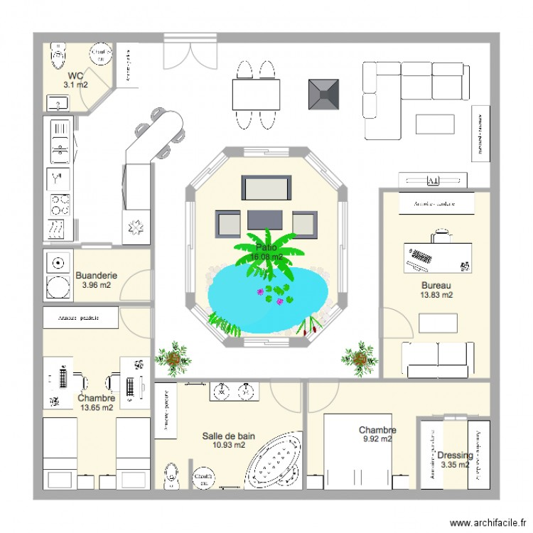 Maison plain pied avec patio interieur - Plan maison avec jardin interieur ...