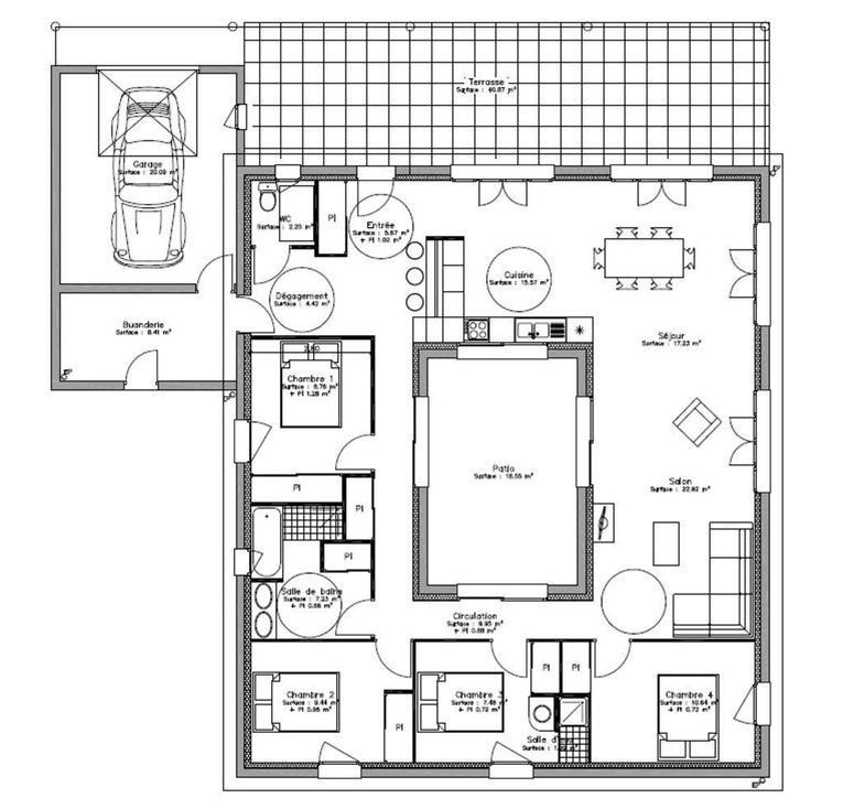 Maison Plain Pied Avec Patio Interieur