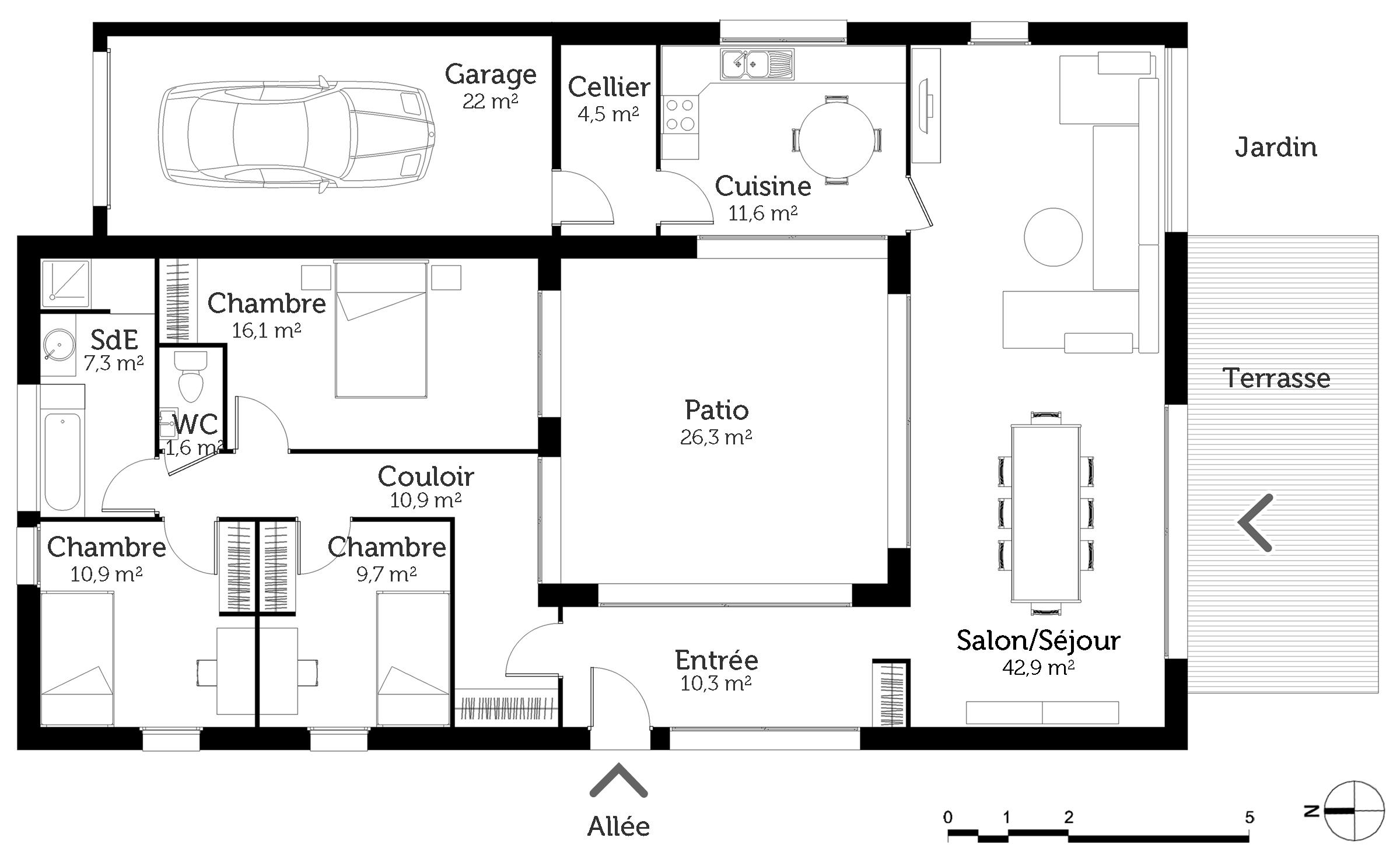 maison plain pied avec patio