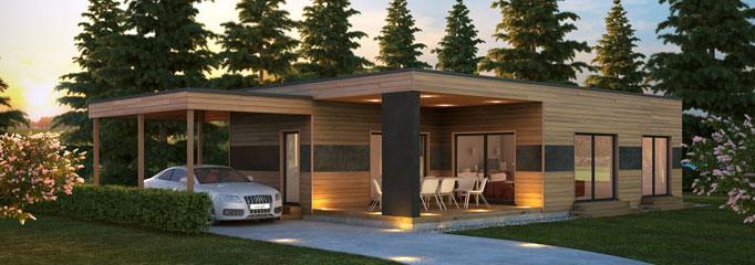 maison plain pied bois. Black Bedroom Furniture Sets. Home Design Ideas