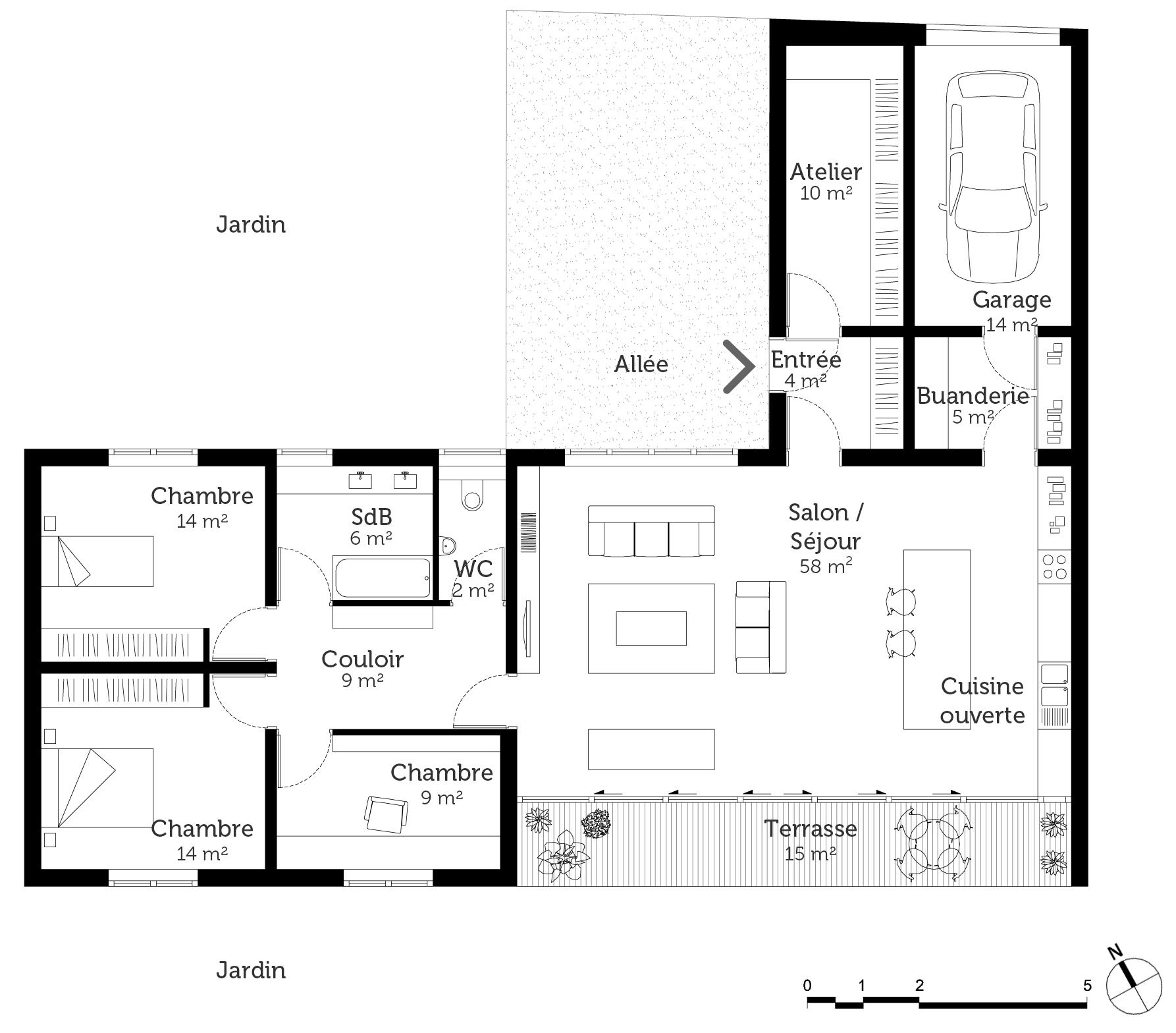 Maison plain pied en l avec garage - Maison en l plain pied ...