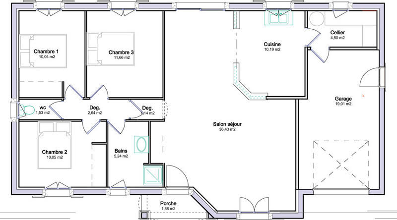 maison plain pied en l avec garage