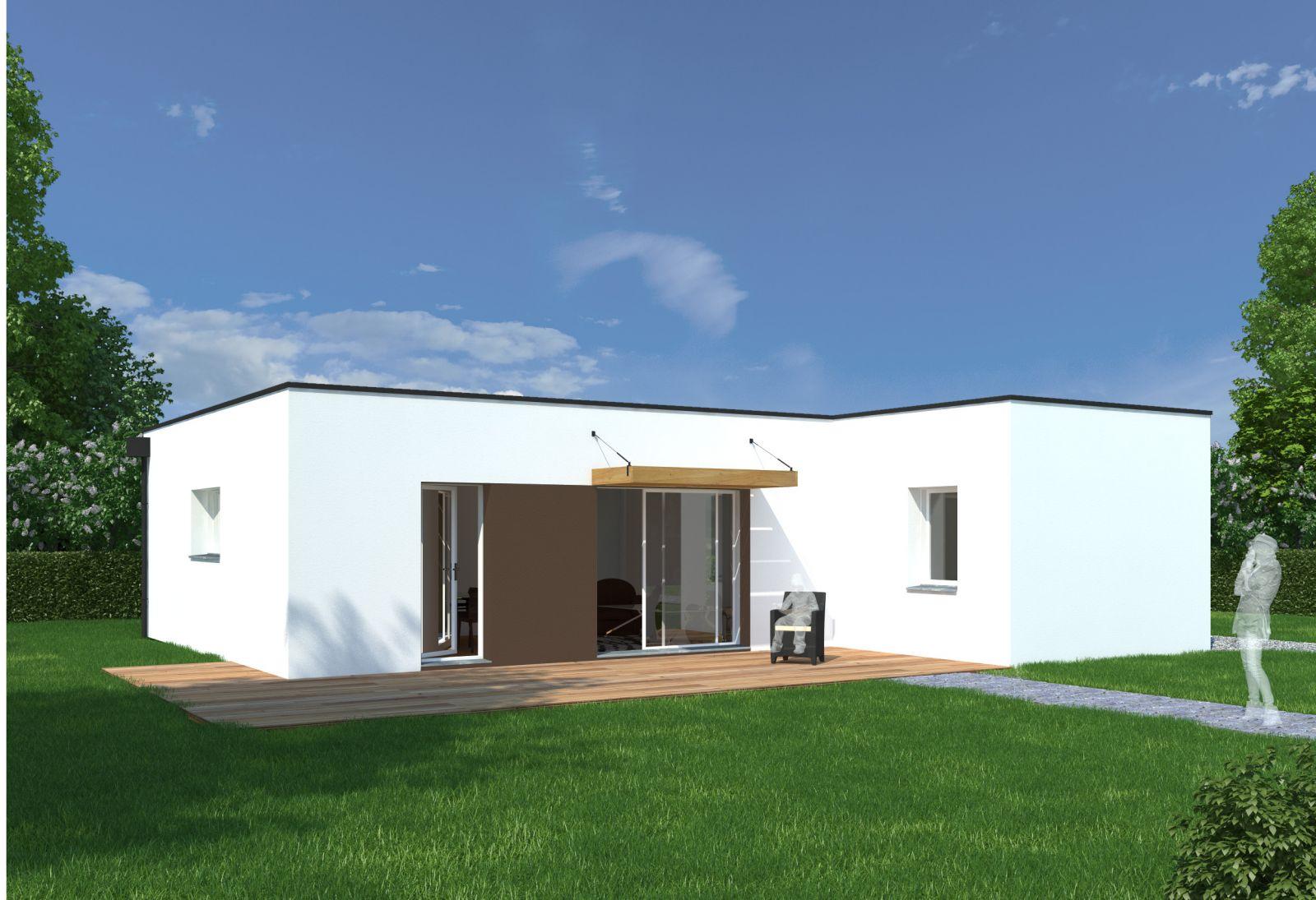 maison plain pied en l toit plat. Black Bedroom Furniture Sets. Home Design Ideas