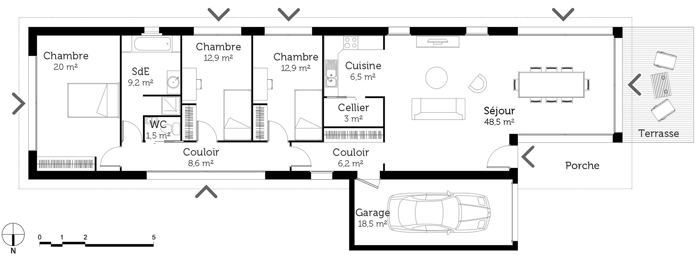 maison plain pied en longueur