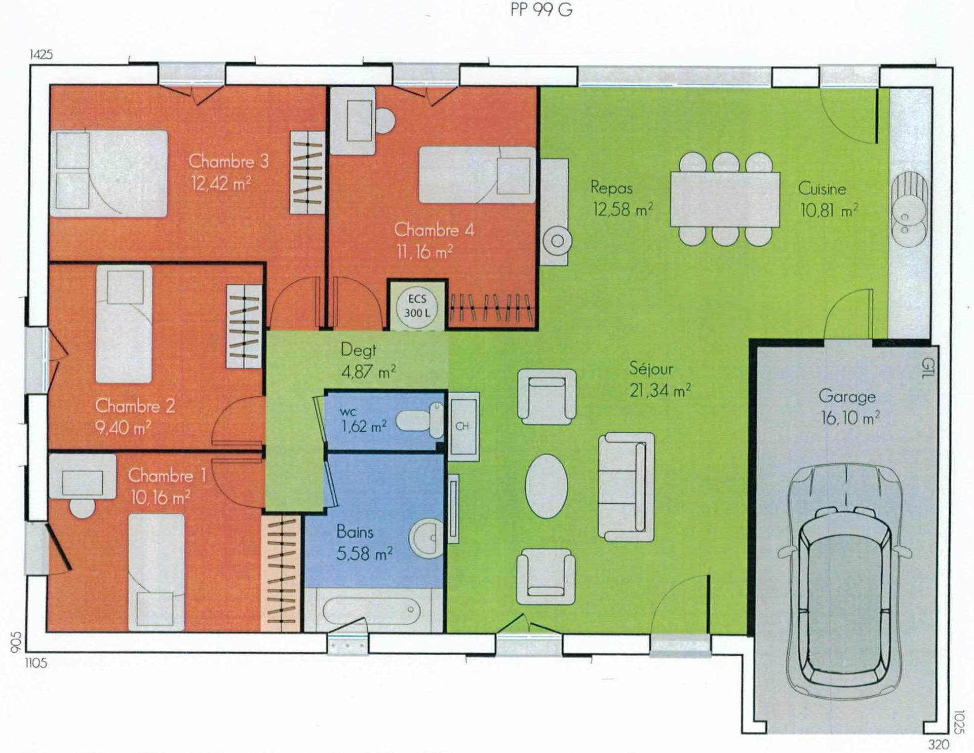 Maison plain pied en u avec garage - Plan maison plein pieds ...