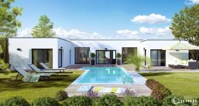 maison plain pied en u avec piscine
