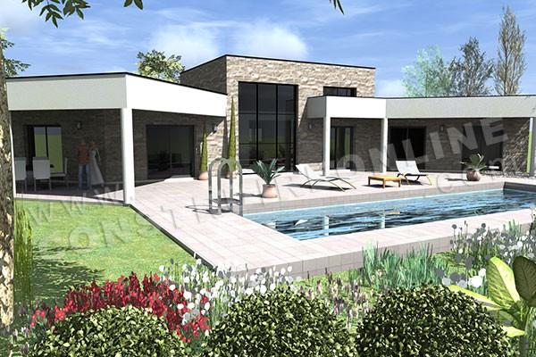 maison plain pied en u piscine