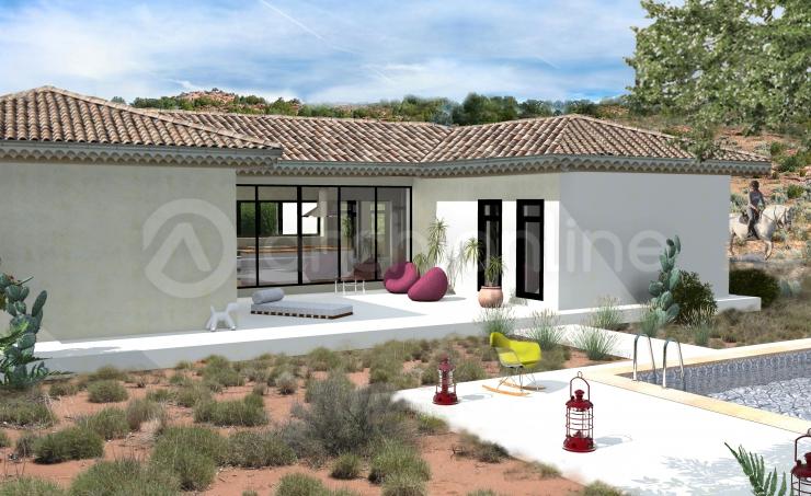 Maison plain pied forme u - Forme de toiture maison ...