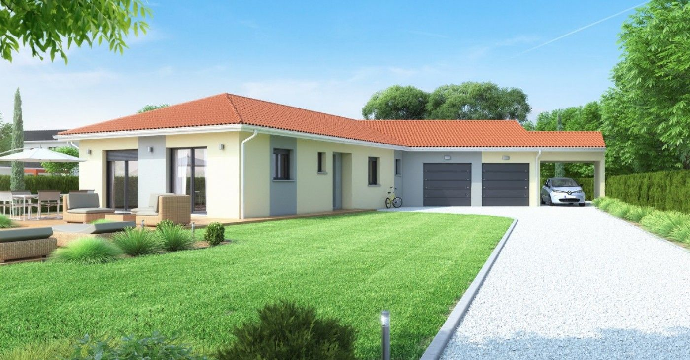 Modele maison plain pied double garage