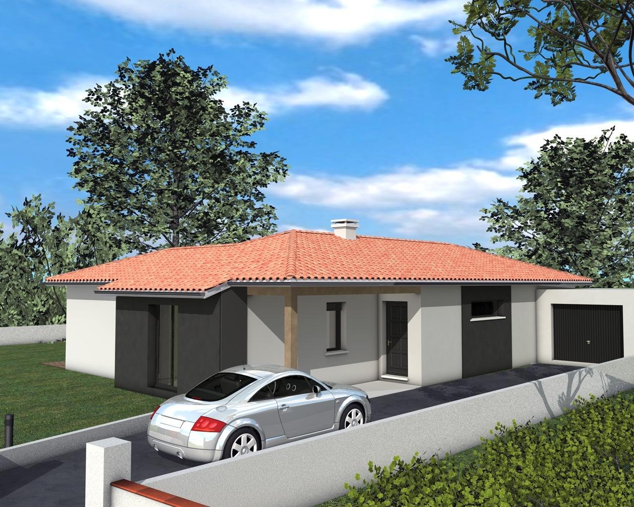 Maison plain pied garage toit plat - Maison plain pied toit monopente ...