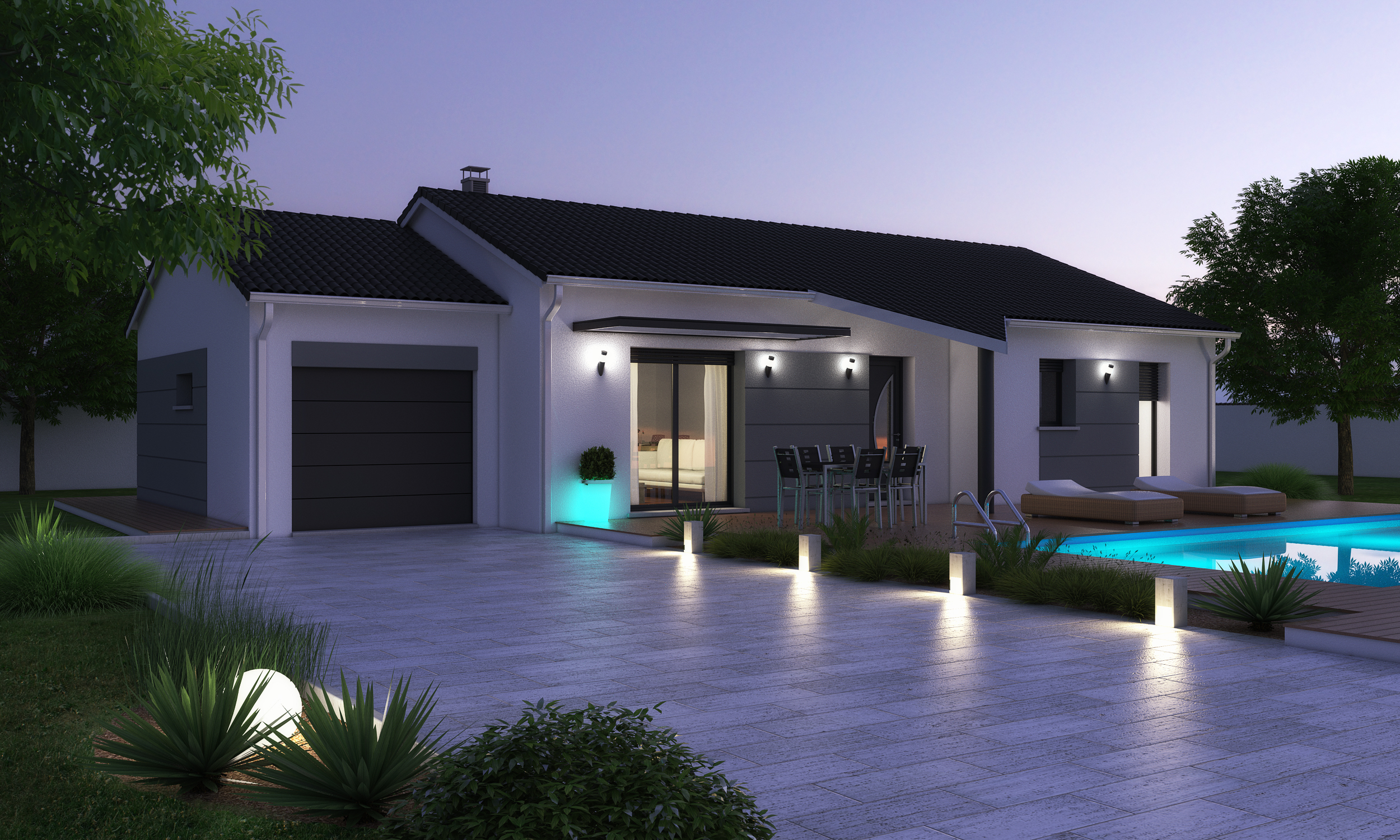 maison plain pied moderne. Black Bedroom Furniture Sets. Home Design Ideas