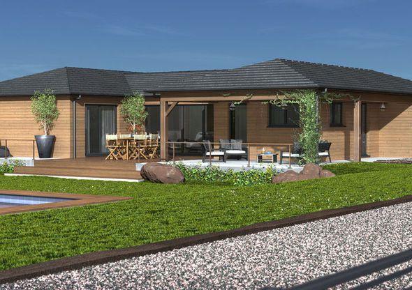 Maison plain pied ossature bois - Plan maison en bois plain pied ...