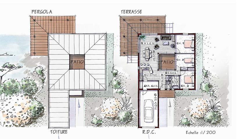 maison plain pied patio